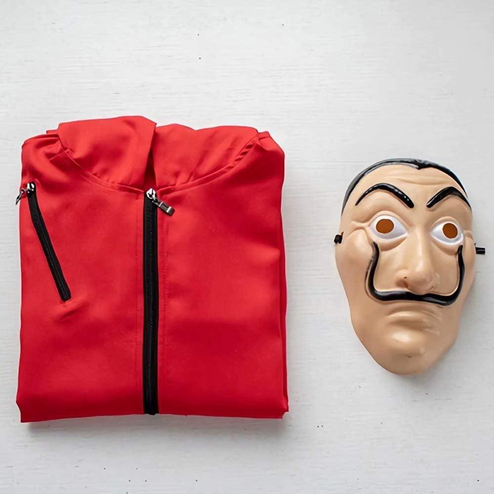 Alisoya La Casa De Papel Salvador Dali Costume Ladro La Casa di Carta Costume Cosplay Adulti Bambini Carnival Puntelli di Halloween Cappuccio Tuta con Maschera Red