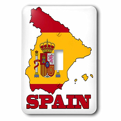 3dRose lsp_63206_1 The Flag Of Spain In The Outline Map Of The Country And Name, Spain. Single Toggle Switch by 3dRose