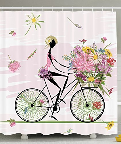 Ambesonne Girl Riding a Bike with Watercolor Daisy Flowers Basket, Polyester Fabric Bathroom Shower Curtain Set with Hooks (Old Woven Baskets)