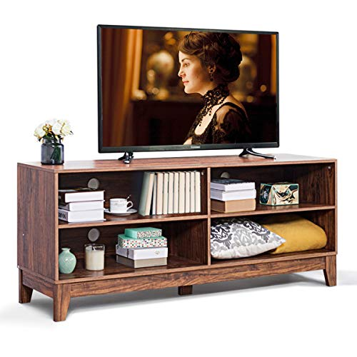 Giantex 58 TV Stand Console Table Cabinet Large Storage for Chic Living Recreation Room with 4 Open Shelves and Cable Management System, Rustic Wood Style Television Stands Tables with Feet