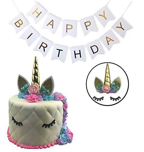 Unicorn Cake Topper Birthday Party Kit (Set of 3) Small Horn Eyelashes Banner | Choose Gold or Pink Decoration Supplies | Fun Kid's Décor for Parties (Horn Confetti Party)