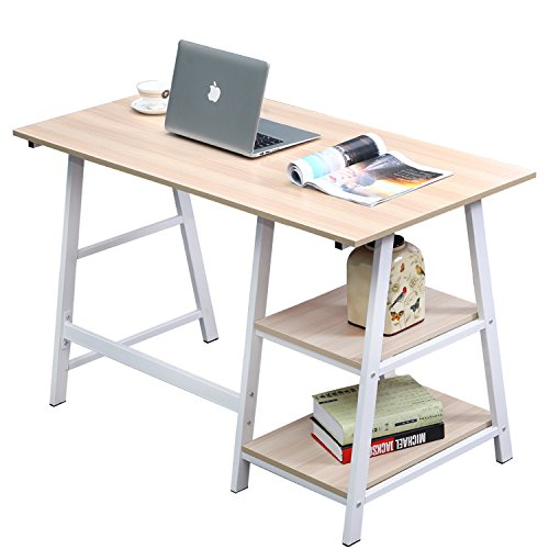 """dlandhome 47"""" medium computer desk, composite wood board, home office desk/workstation/ table with 2 shelves, tplus-120mw maple & white legs, 1 pack"""