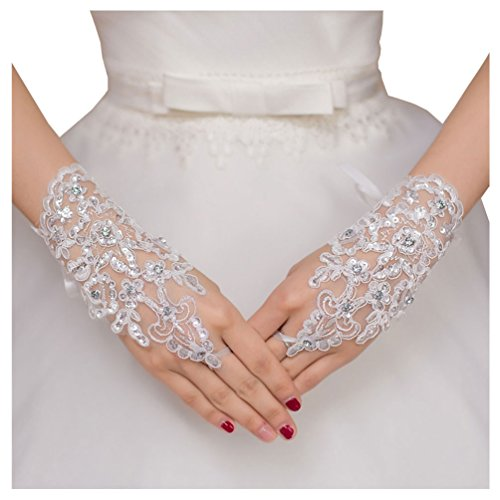 DYS Dresses Lace Bridal Gloves Tulle Glove for Wedding Prom Fingerless Rhinestones (White1)
