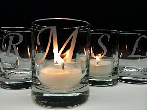 Engraved Candle Holder (Personalized Wedding Favors 24 Piece Set Engraved Glass Candle Holders Party Decor)