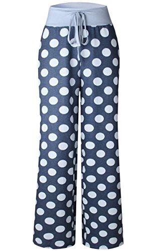 Angashion Women's High Waist Casual Floral Print Drawstring Wide Leg Pants, Grey Dots, US 4/Tag M