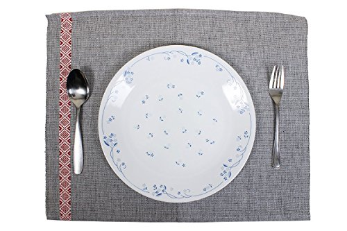 Store Indya,Placemats for Kitchen Dining Table Set of 4 Hand Woven Grey Cotton Kitchen Dining Decor (Autumn Legacy Place)
