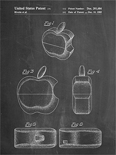 Border Apple Chalkboard - Great Art Now Chalkboard Apple Logo Flip Phone Patent by Cole Borders Laminated Art Print, 15 x 20 inches