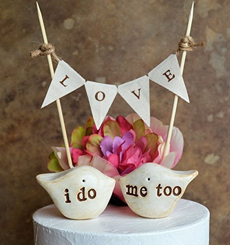 - Wedding cake topper // DOUBLE SIDED birds: i do me too on one side and custom info on the other