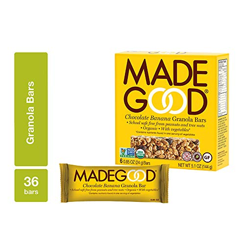 - MadeGood Chocolate Banana Granola Bars, 6 pack (36 bars); Contain Nutrients of a Full Serving of Vegetables; Gluten Free Oats, Rich Dark Chocolate and Ripe Banana Form Chewy, Organic Snack