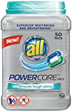 All POWERCORE Super Concentrated Laundry Detergent Pacs Plus Removes Tough Odors Tub, 50 Count