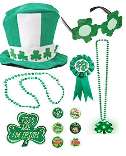 Patty O'green Costume (Irish Hat Green Tophat Costume Set Party Accessory Kit Top Hat St Patricks Day Costume White Green Bead Necklace Shamrock Light Up Sunglasses Pin Buttons Ribbon Pack for Parade or Party (12 Pieces))