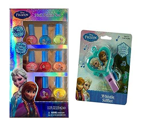 Disney Frozen 8 Pc Beauty Accessory Peel-able Nail Polish Set - Bright Colored Polishes Featuring Princess Elsa & Anna - Safe Non-toxic Polish - Plus Bonus Disey Frozen Whistle Age 3 +
