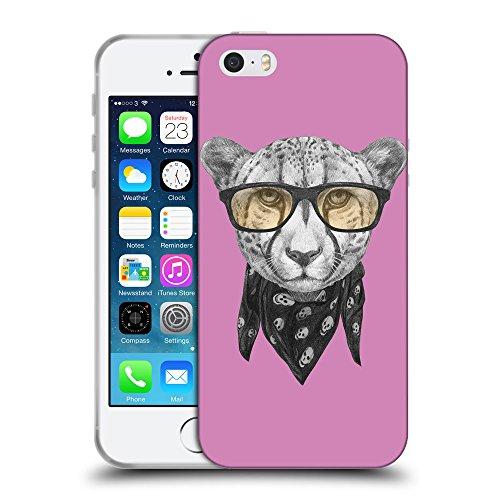GoGoMobile Coque de Protection TPU Silicone Case pour // Q05030618 Foulard cheetah Bronze // Apple iPhone 5 5S 5G SE