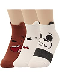 We Bare Bears Cartoon Series Cute Design Low Cut Cotton Socks For Women