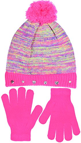 SWAK Girl's Cute Knit Hat with Pom and Jeweled Cuff & Gloves Set in 3 Colors (Bubble Gum) -