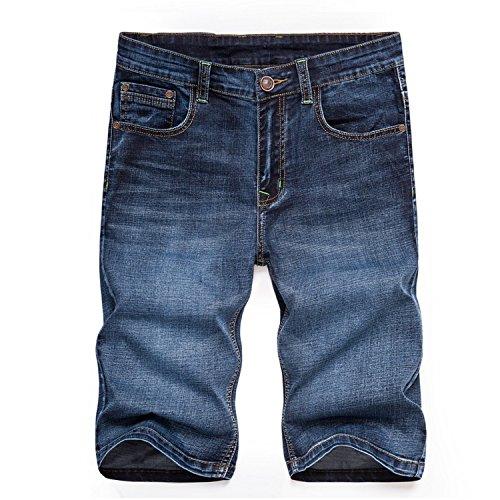 baqijian Male Summer Short Jeans Men Breeches Straight Stretch Denim Breathable Shorts Mens Elastic Lightweight Blue Size 42 Blue Black 33