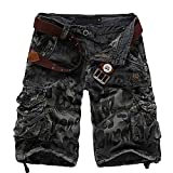 Win8Fong Men's Summer Modern Style Casual Cargo Leopard Shorts Pants Loose Pockets Trousers