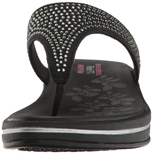 Skechers Signore Aggiornamenti-pietre T-tacchi Sandali Neri (nero)