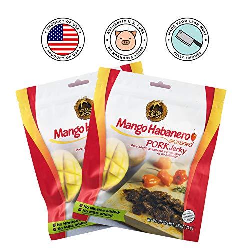 Golden Nest Seasoned Pork Jerky 2.5 oz (Mango Habanero, Pack of 2)