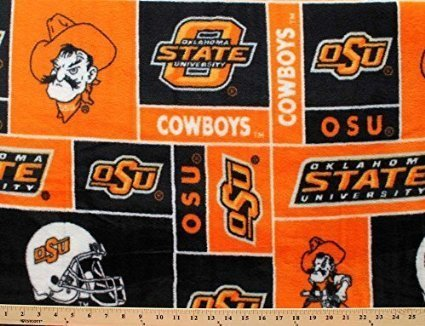 College Oklahoma State University Cowboys Print Fleece Fabric By the Yard