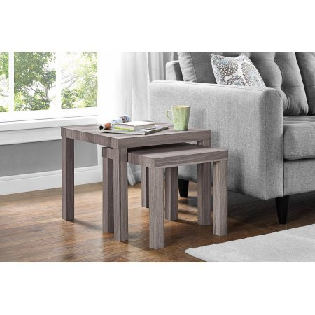Parsons Rustic Living Dining Room Side Nesting Coffee Tables, 2-Piece Table Set, Rustic Oak by Mainstay