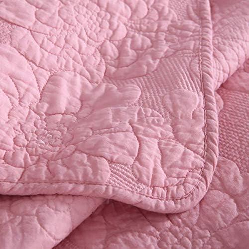ZTMN Coton 100% Couvre-lit matelassé en Coton brodé Rose, Couvre-lit Taille Couvertures Double (230 * 250cm) avec 2 taies d'oreiller, Rose, 230 * 250cm
