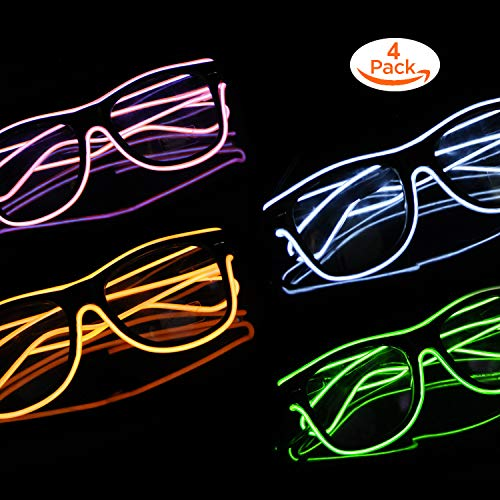 Blazing Fun El Wire Glow Glasses Led DJ Bright Light Safety Light Up Multicolor led Flashing Glasses with 4 Modes for Halloween Christmas Birthday Party (Green+White+Orange+Pink)]()