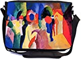 Rikki Knight August Macke Art with Yellow Jacket Design Messenger School Bag (mbcp-cond3209)