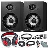"Alesis Elevate 4 40W 4"" Two-Way Active Desktop Studio Speakers and Platinum Bundle w/ Analog Stereo Volume Control, Headphones, More"