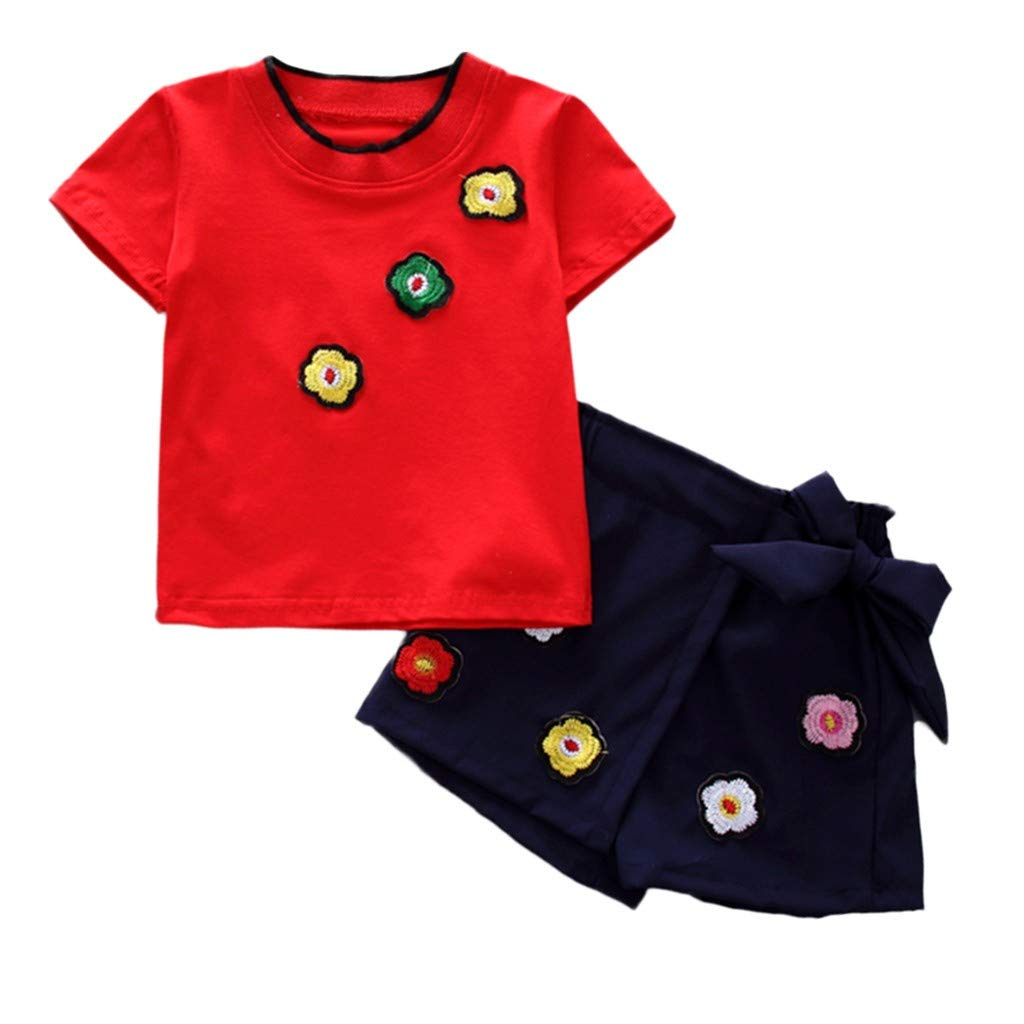 Bambino Ragazza Tops+Pantaloncini Due Pezzi Set Maglietta Bambina Manica Corta Principessa Girocollo Stampa Estiva Abbigliamento per Bambini Abiti Comunione Bambina Honestyi