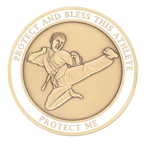 - (20 7/18) MARTIAL ARTS Medal Saint Sebastian Brass SEBANO Sports Good Luck Coin 1.7
