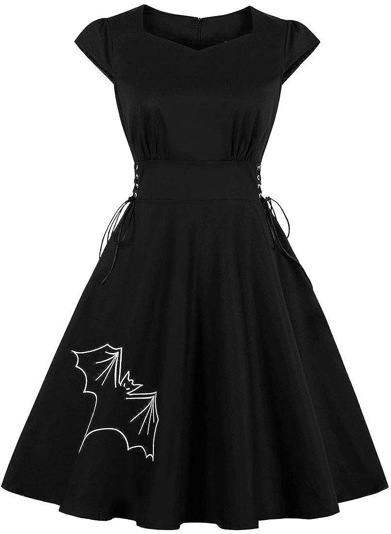 FLYCHEN Mujer Faldas Casual Vestido Impresi/ón Mini Vestidos de Halloween Vestido Negro