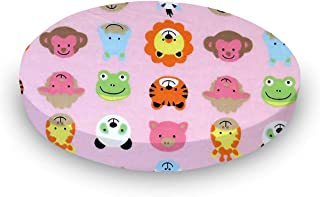 product image for SheetWorld 100% Cotton Flannel Round Crib Sheet, Animal Faces Pink, 42 x 42, Made in USA