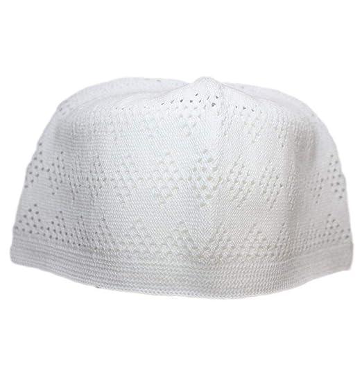 47a2d546a0956 Amazon.com  White One-size Turkish Muslim Islamic Kufi Hat Taqiya Takke  Peci Skull Cap  Clothing