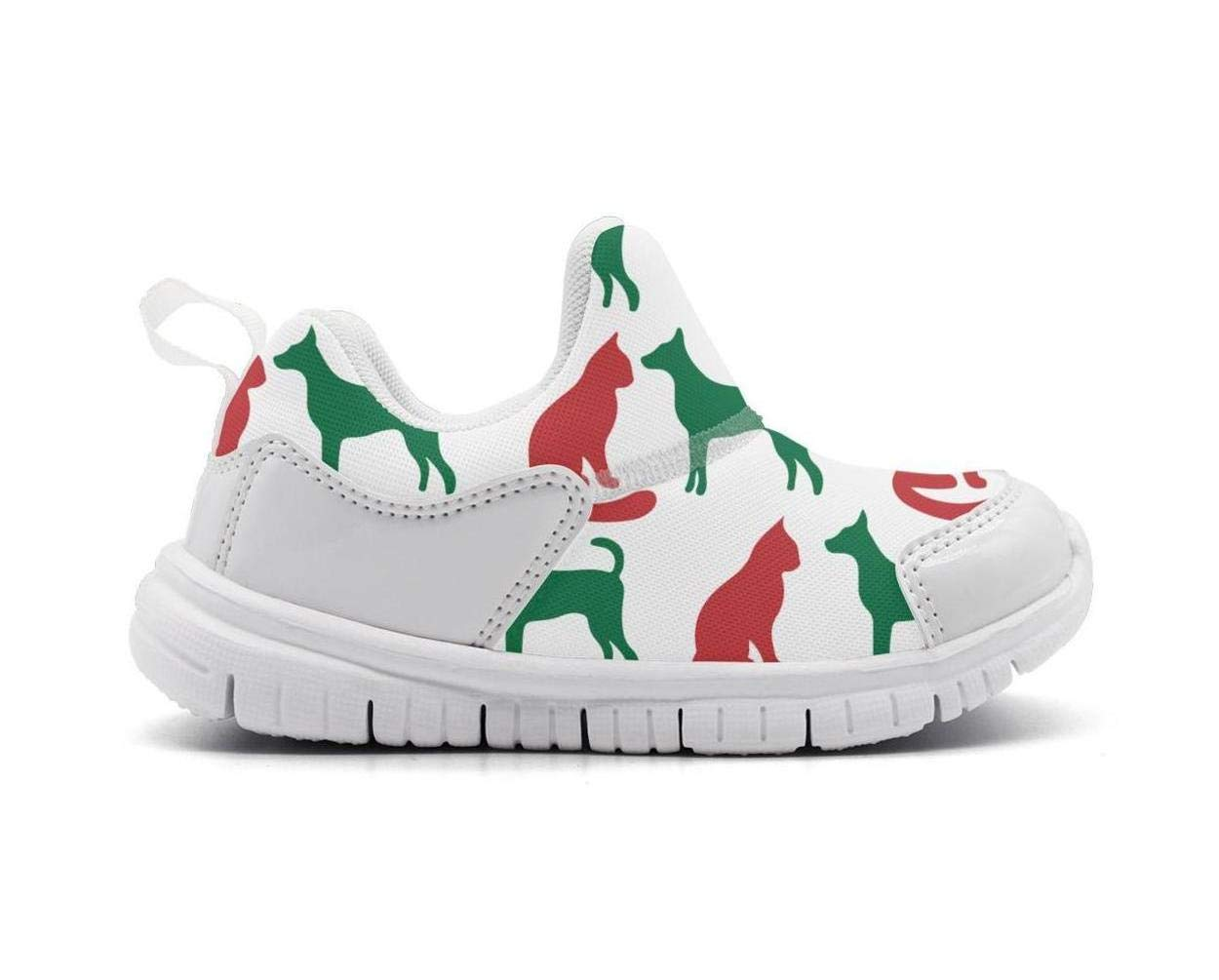 ONEYUAN Children Christmas cat and Dog Silhouettes Kid Casual Lightweight Sport Shoes Sneakers Running Shoes