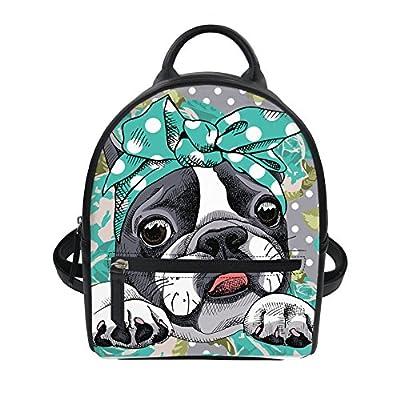 319136ad65ec HUGS IDEA Cute Boston Terrier Mini Backpack PU Leather Daypack for ...