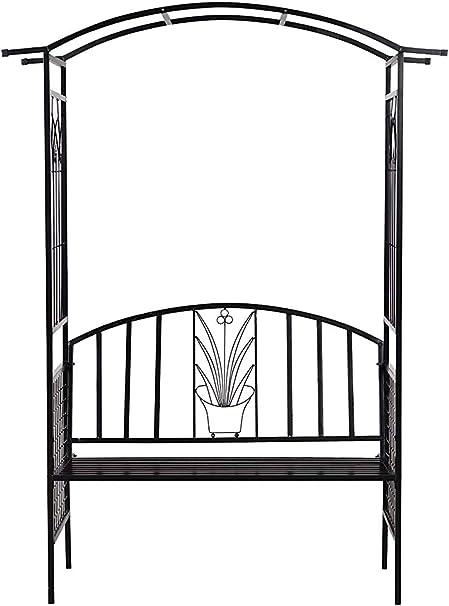 Árboles de jardín y los bancos del patio al aire libre de la bóveda de metal flor de escalada plantas pérgola arco tubular -152L x 58W x 207Hcm,Black: Amazon.es: Hogar