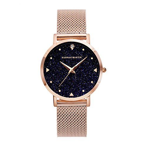 Women's Fashion Watches for Sale Rose Gold Mesh Stainless Steel Bracelet Wrist Watch Starry Sky Rhinestone Face Luxury Lady Watch 36mm Waterproof ()