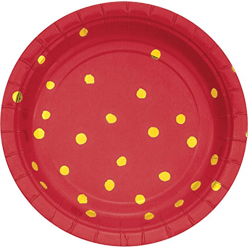 Dot Cake Plate - Classic Red and Gold Foil Dot Dessert Plates, 24 ct