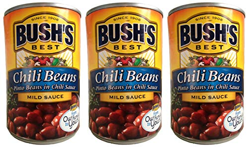 Bush's Best Chili Beans-- pinto beans in mild chili sauce (3 pack) each can is 16 ounces for a total of 48 ounces (Best Canned Vegetarian Chili)