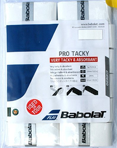 Babolat Pro Tacky Tennis Overgrip 12 Pack White Very Tacky & Absorbant