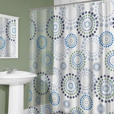 Circle Dots PEVA Vinyl Shower Curtain In Shades Of Blue, Green, Purple U0026  Teal