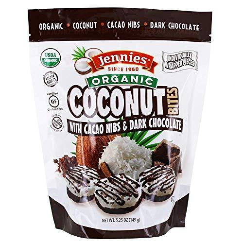 Jennies Organic Coconut Bites with Cacao Nibs, 5.25oz Glten Free, Non-GMO, Peanut Free, Kosher (1)