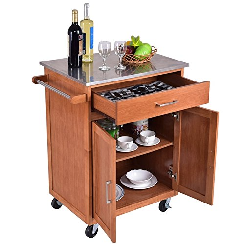 Rolling wooden kitchen island with drawer and shelves for Inexpensive modern furniture nyc