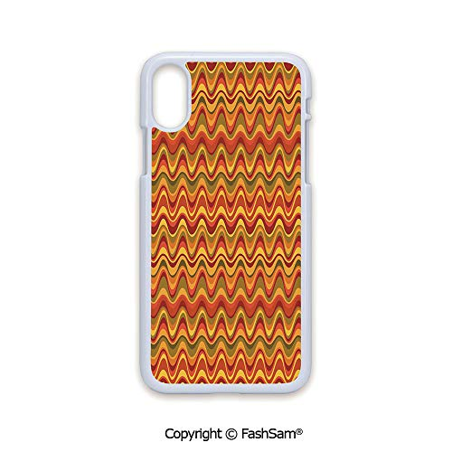 (Phone Case Compatible with iPhone X Black Edge Desert Dune Pattern Abstract Design Warm Color Palette Funky Old School Art Style Decorative 2D Print Hard Plastic Phone Case)
