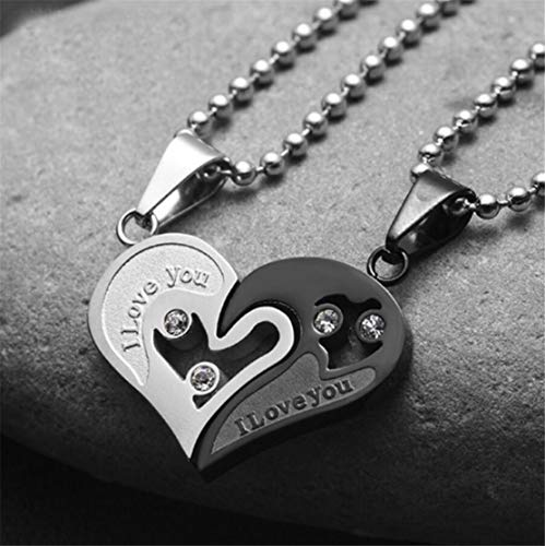 (LOSOUL 2pcs His & Hers Couples Gift Heart Pendant Love Necklace Set for Lover Valentine,3#)
