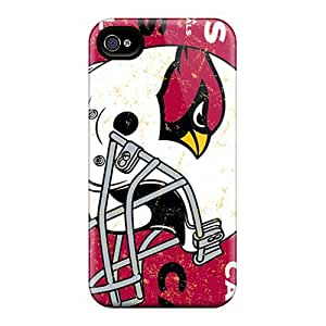 Shock Absorbent Hard Phone Cases For Iphone 4/4s With Unique Design Beautiful Arizona Cardinals Pattern JasonPelletier hjbrhga1544