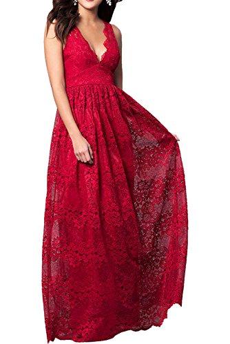 Promkleider Neu Neck Rosa Abendkleider Traumhaft Bodenlang Ballkleider Spitze V Ivydressing Prinzessin Rot x8XqYn5