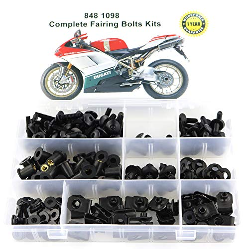 Xitomer Full Sets Fairing Bolts Kits, for DUCATI 848 1098 1198, Mounting Kits Washers/Nuts/Fastenings/Clips/Grommets (black)