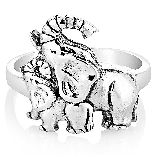 925 Oxidized Sterling Silver Playful Mother & Baby Elephants Family Love Ring Size 7